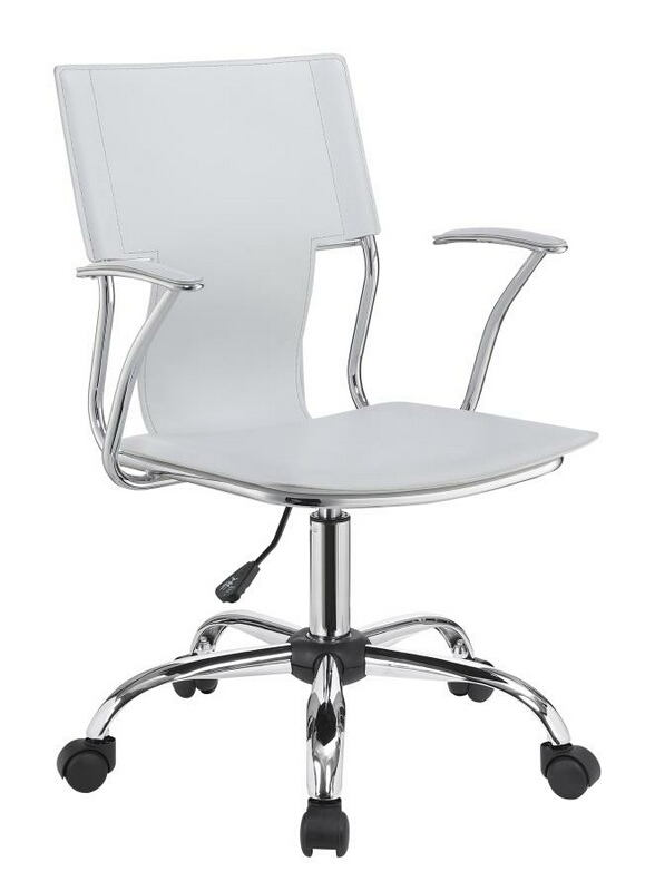 801363 Modern office white leatherette and chrome frame chair with casters