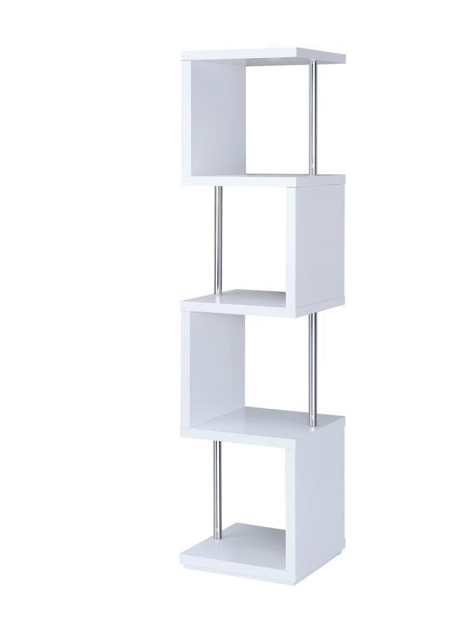 Alternating shelves design white finish wood modern styling slim line bookcase shelf unit