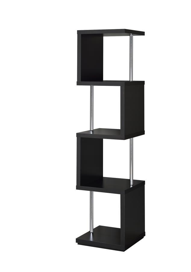 801419 Alternating shelves design black finish wood modern styling slim line bookcase shelf unit