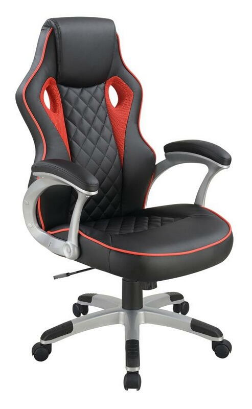 801497 Latitude run gebmerch diamond back black and red faux leather office chair with casters