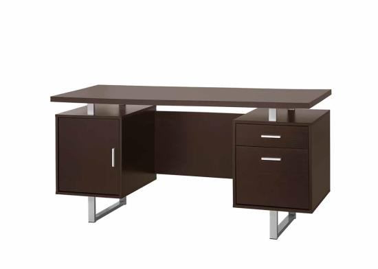 Glavan collection espresso finish wood with silver metal frame accents office desk with drawers