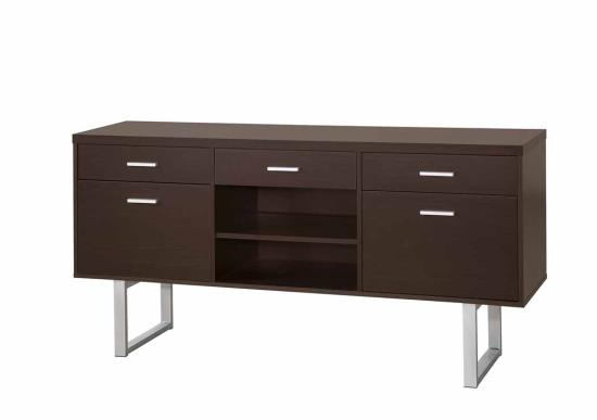 Glavan collection espresso finish wood with silver metal frame accents office credenza desk with drawers