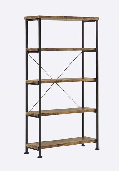 801542 Gracie oaks renfroe analiese antique nutmeg finish wood with black metal frame 5 tier shelf