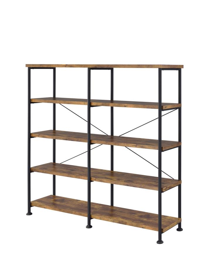 801543 Barritt Williston forge antique nutmeg finish wood with black metal frame 5 tier shelf