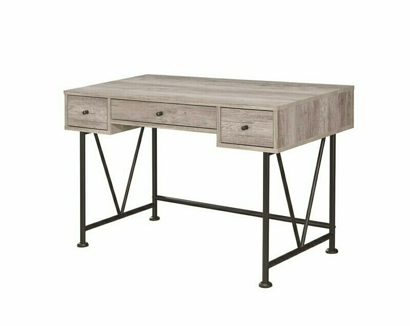 801549 Gracie oaks woodward analiese grey driftwood finish wood with black metal frame writing desk