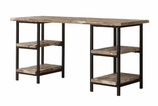 801551 Modern rustic interiors darren salvaged cabin finish wood black metal frame two pedestal writing desk