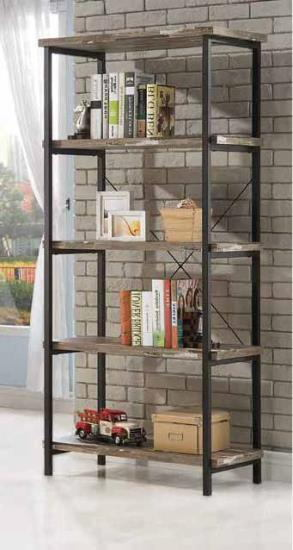 801552 Skelton salvaged cabin wood finish with black metal frame 5 tier book shelf