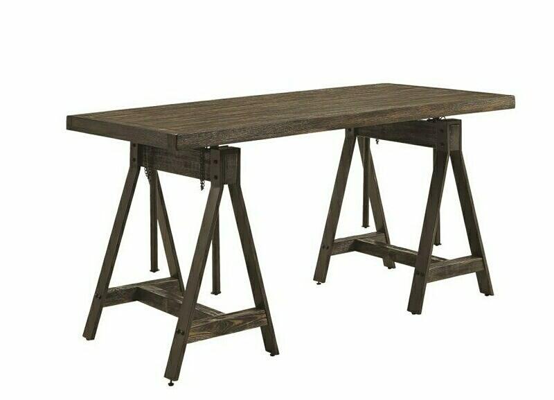 881171 Deponte burnished cognac finish wood and burnished gunmetal frame office desk