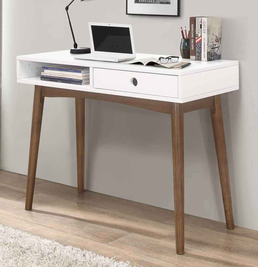 801931 George oliver burkhalter bradenton mid century white / walnut finish wood writing desk