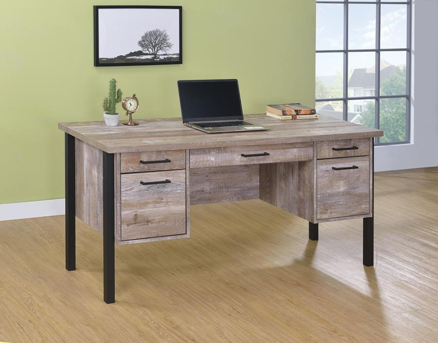 801950 Millwood pines amina samson weathered oak finish wood and black metal frame writing desk