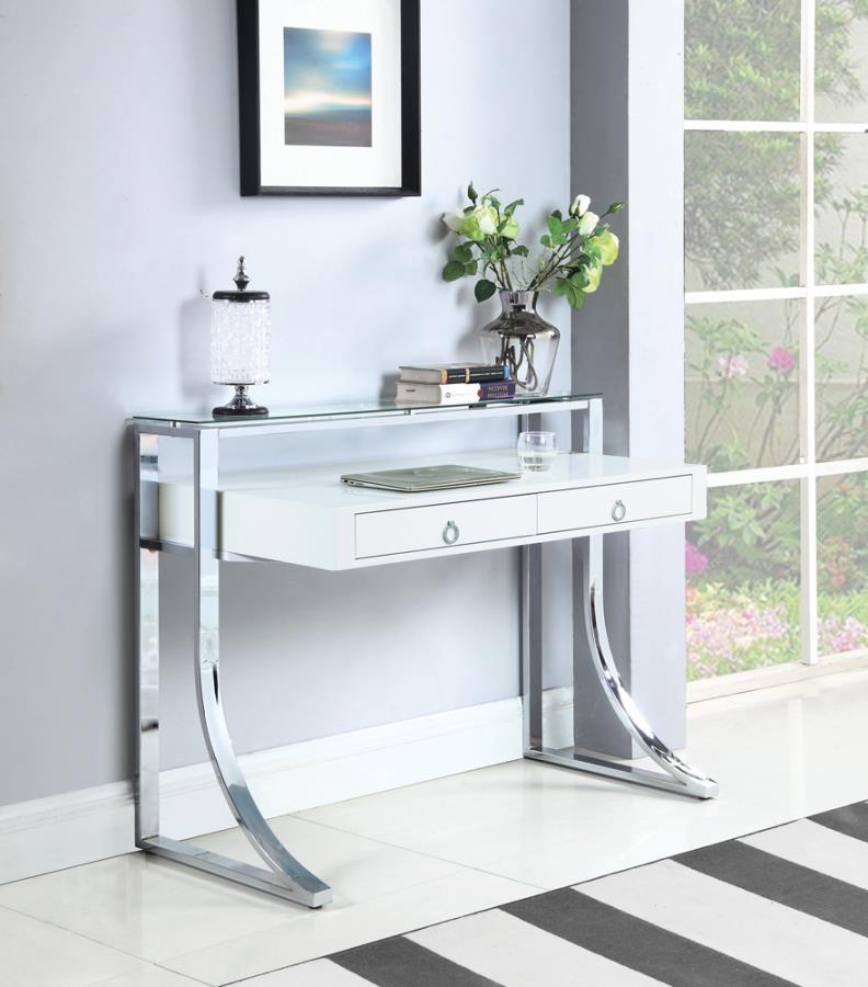 802141 Orren ellis audrey gemma white finish wood and chrome legs writing desk