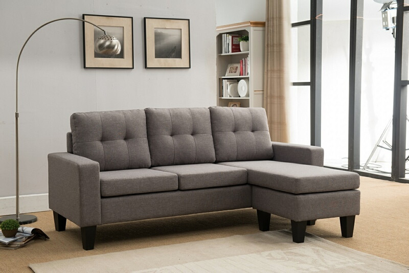8023-LG 2 pc Mercury Row Briley light gray linen like fabric sectional sofa reversible ottoman chaise