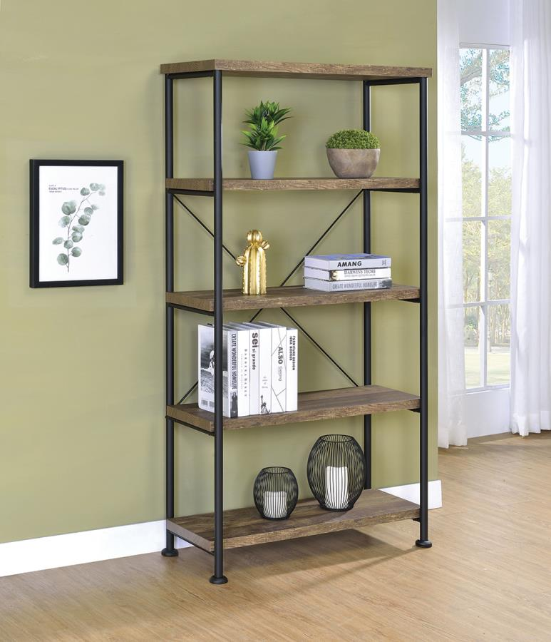 802543 Gracie oaks renfroe analiese rustic oak finish wood with black metal frame 5 tier shelf