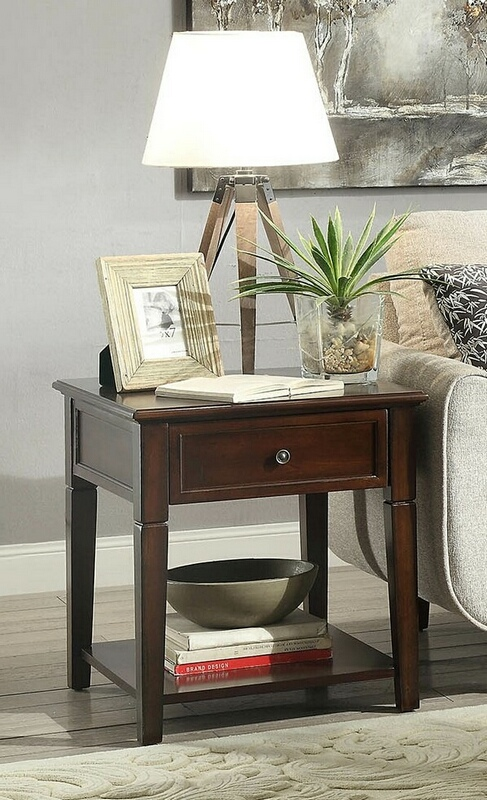 Acme 80255 Darby home co eppler malachi walnut finish wood chair side end table with storage