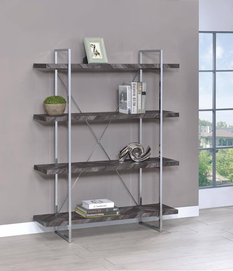 802613 Gracie oaks inglestone Frisco four tier chrome metal frame rustic grey bookcase shelf