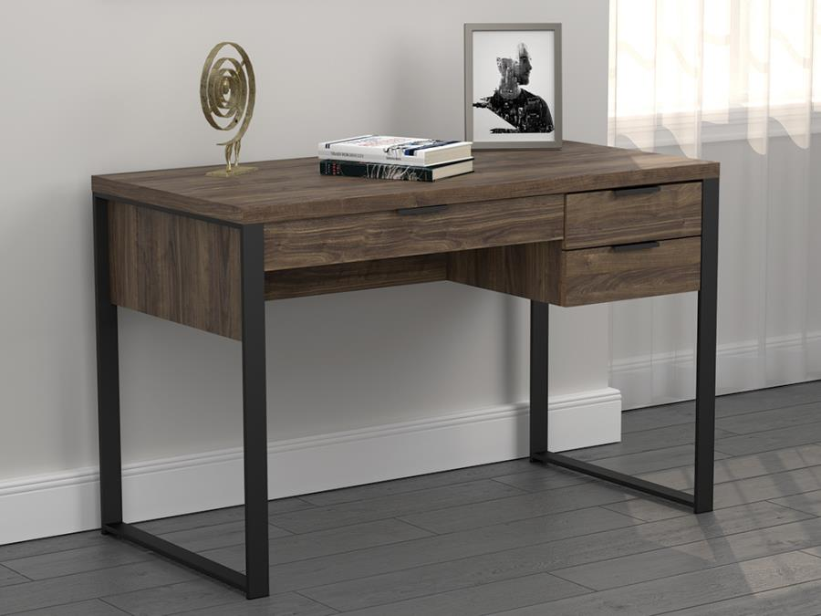803370 Union rustic stickland pattinson aged walnut finish wood gunmetal metal frame writing desk