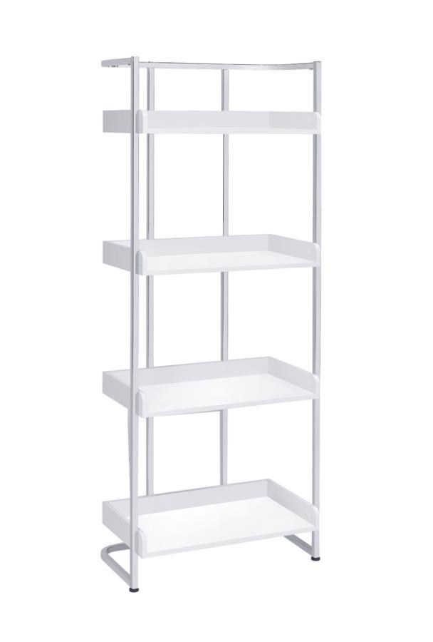 803402 17 stories asti ember high gloss white finish wood chrome metal frame 4 tier book shelf