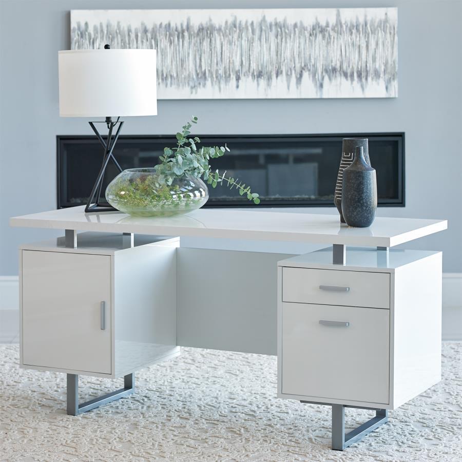 803521 Orren ellis onancock lawtey high gloss white finish wood silver metal frame office desk