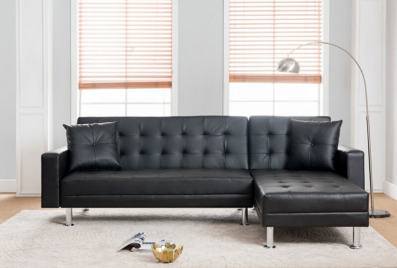8036-BK 2 pc Taylorann jett nuttall modern style black faux leather sectional sofa reversible chaise