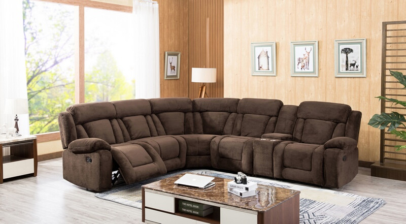8037-DB 3 pc Red barrel studio herald dark brown fabric sectional sofa with consoles and recliners