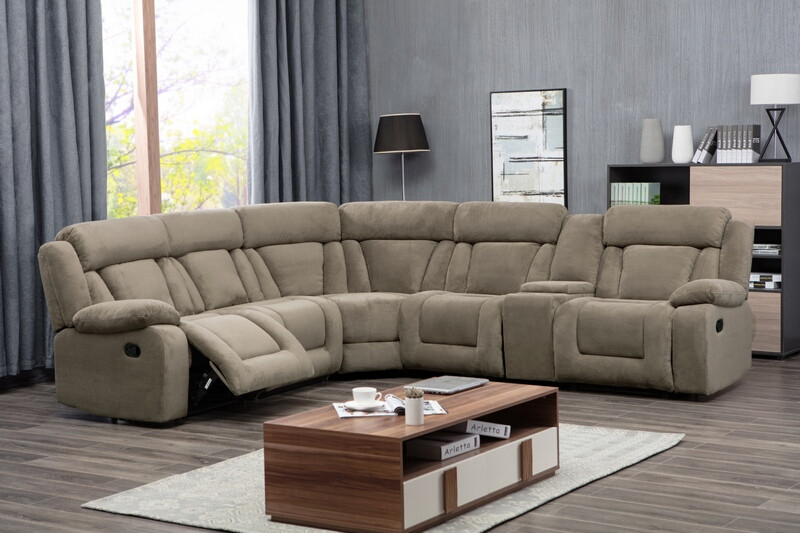 8038-TAN 3 pc Latitude run herald symmetrical square tan fabric sectional sofa with consoles and recliners