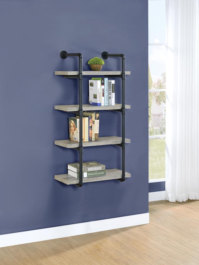 804416 Carbon loft agwan grey driftwood finish wood black metal frame 4 tier wall mount shelf