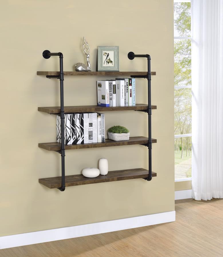 804417 Carbon loft agwan rustic oak finish wood black metal frame 4 tier wall mount shelf
