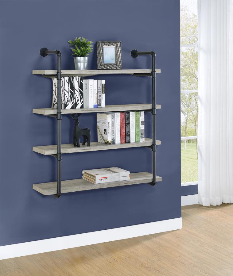 804427 Carbon loft agwan grey driftwood finish wood black metal frame 4 tier wall mount shelf