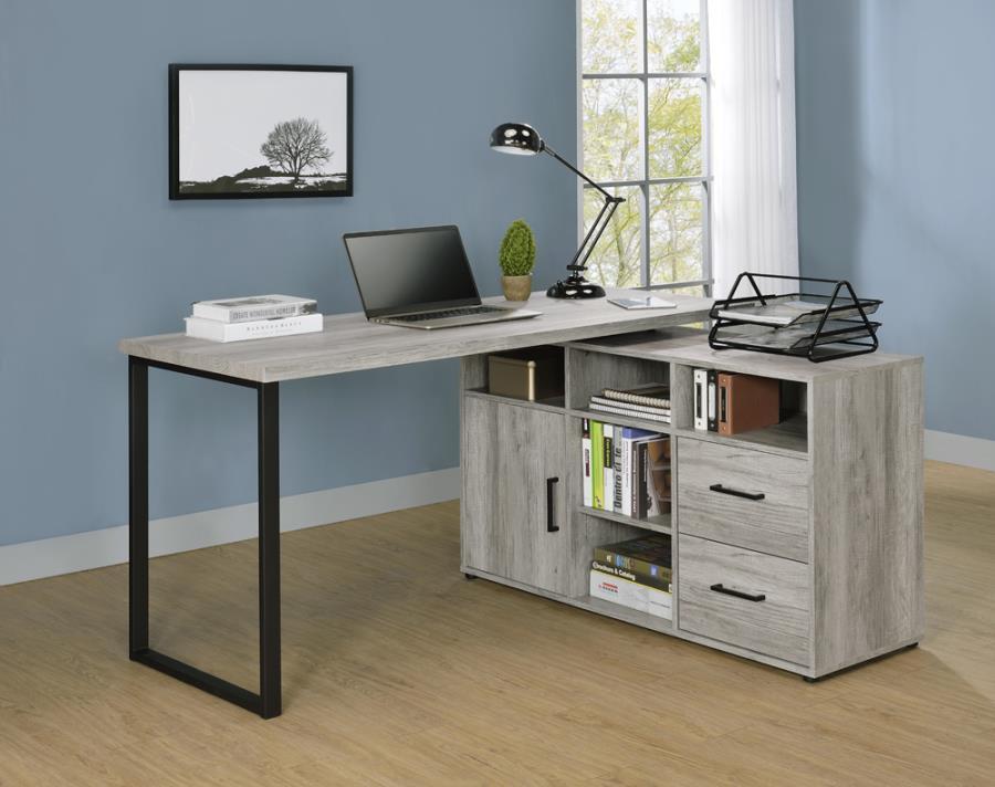 804462 Red barrel studio hertford grey driftwood finish wood l shaped reversible set up computer desk with drawers and shelves