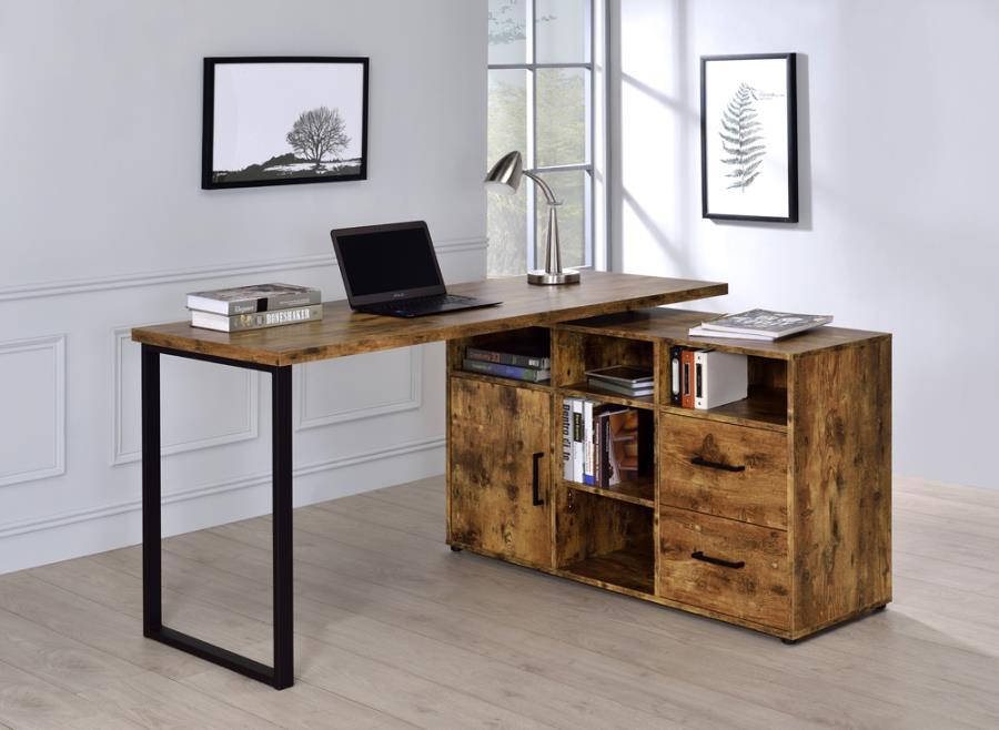 804464 Red barrel studio hertford antique nutmeg finish wood l shaped reversible set up computer desk with drawers and shelves