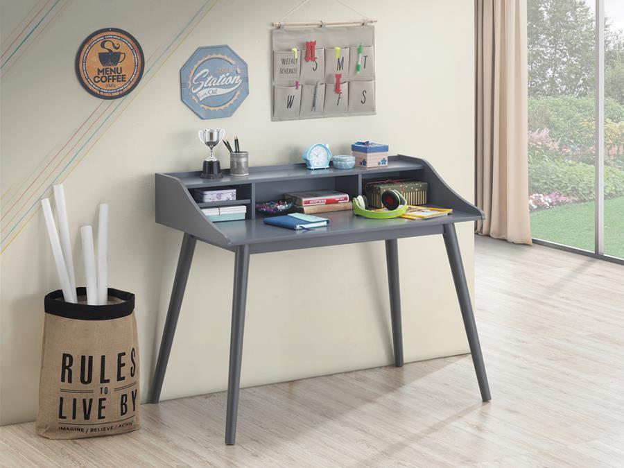 804497 George oliver burkhalter percy mid century grey finish wood writing desk