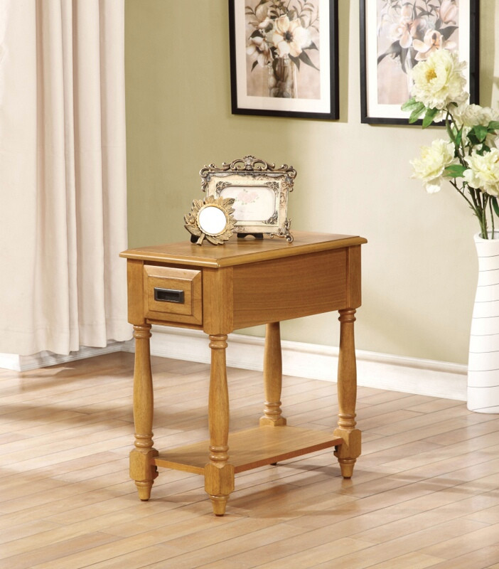 Acme 80510 Qrabard light oak finish wood chair side end table drawer