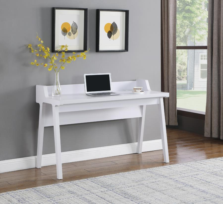 805781 Orren ellis paiter white finish wood compter writing desk with desk top outlets