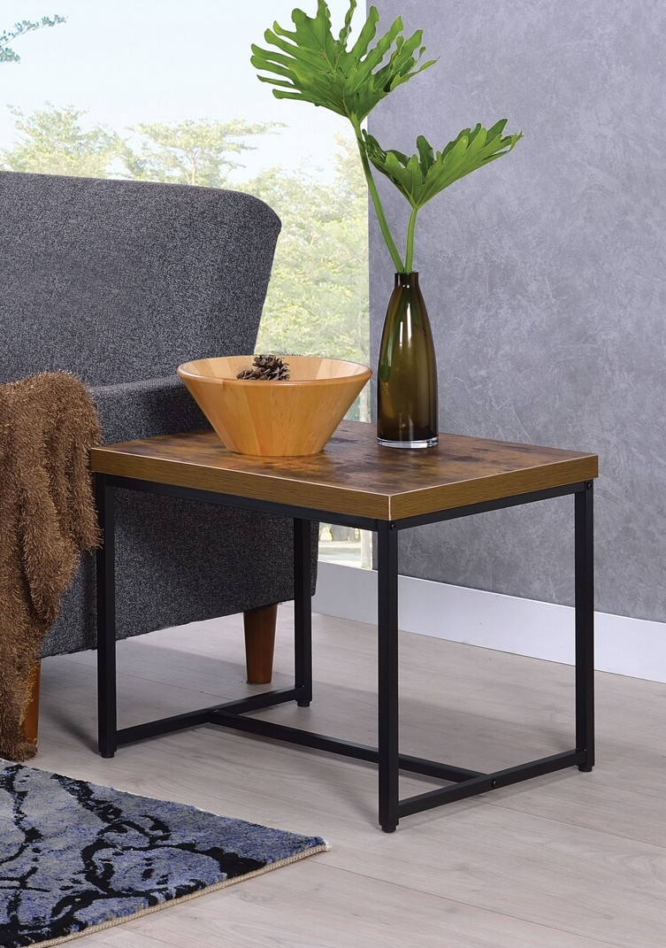 Acme 80617 Foundry select cerie bob weathered oak finish wood top black metal frame chair side end table