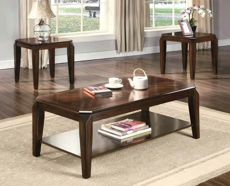 Acme 80655 3 pc Ebern designs salamone docila walnut finish wood modern style coffee and end table set
