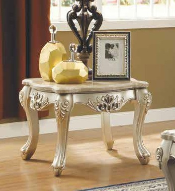 Acme 81042 Astorai grand jacqueline ranita champagne finish wood marble top chair side end table