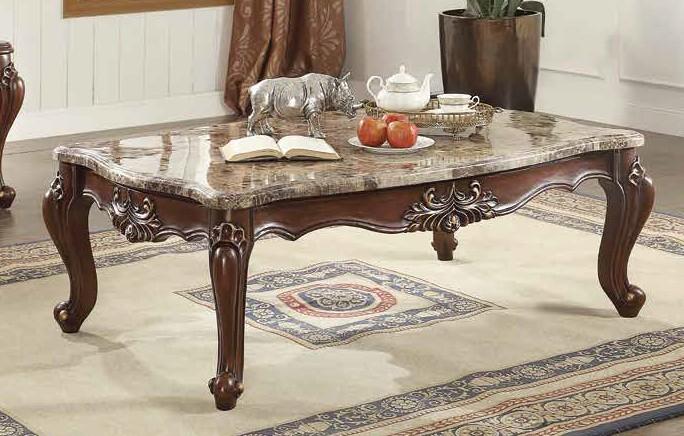 Acme 81050 Astoria grand tunstall shalisa walnut finish wood marble top coffee table