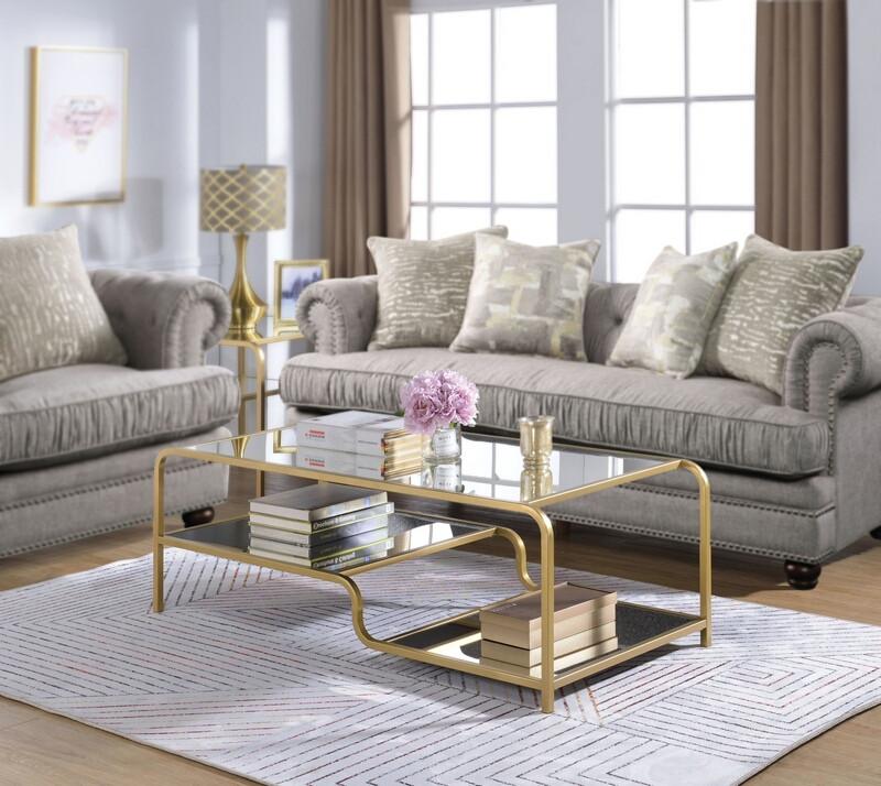 Acme 81090 Everly quinnn reyansh astrid gold finish metal frame glass coffee table