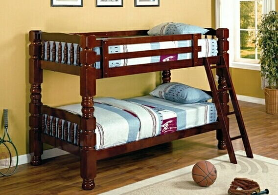 "Cherry finish classic style jumbo twin over twin 4.5"" post bunk bed"