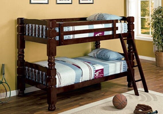 "Espresso finish classic style jumbo twin over twin 4.5"" post bunk bed"