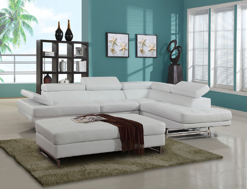 8136WH-2PC 2 pc Latitude run oleander white leather gel sectional sofa adjustable headrests chaise