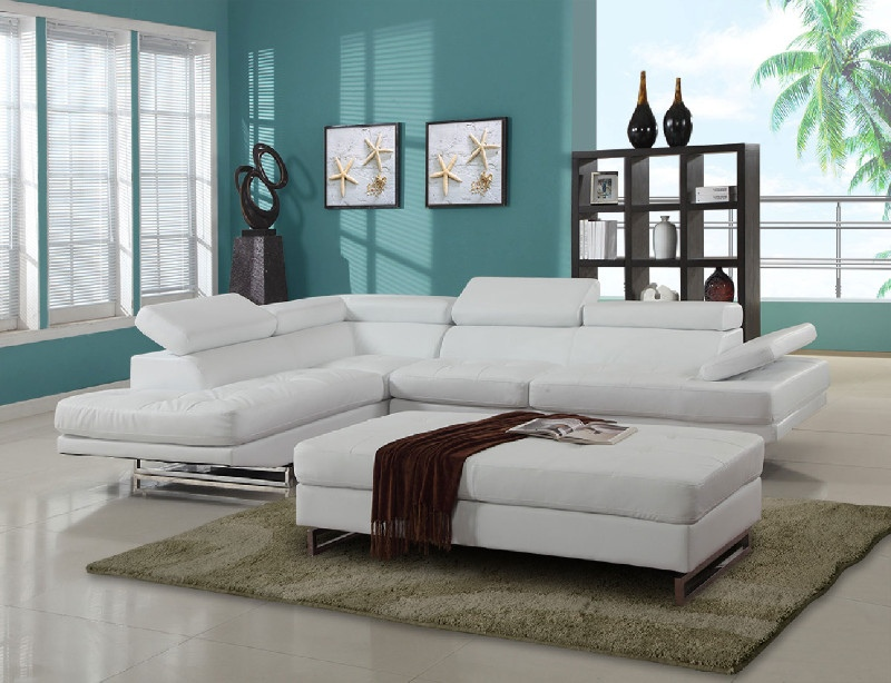 8136WH-2PC-A 2 pc Latitude run oleander white leather gel sectional sofa adjustable headrests with chaise