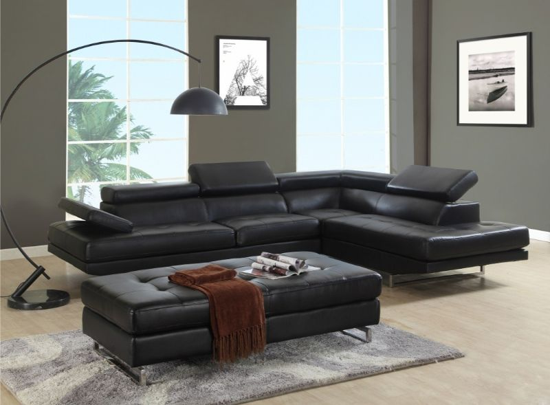 8136BK-2PC 2 pc Latitude run oleander black leather gel sectional sofa adjustable headrests with chaise