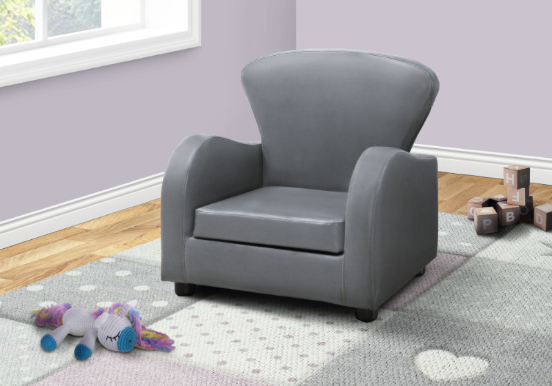 JUVENILE CHAIR - GREY LEATHER-LOOK