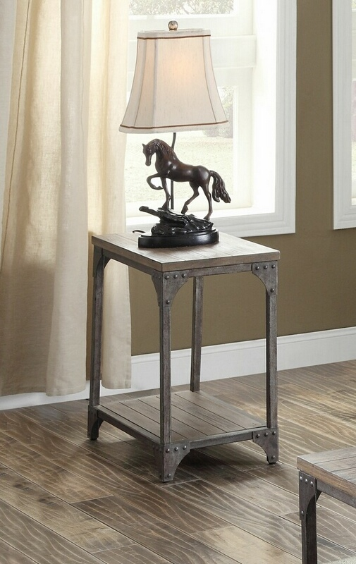 Acme 81447 17 stories aahil gorden weathered oak finish wood antique nickel metal frame chair side end table