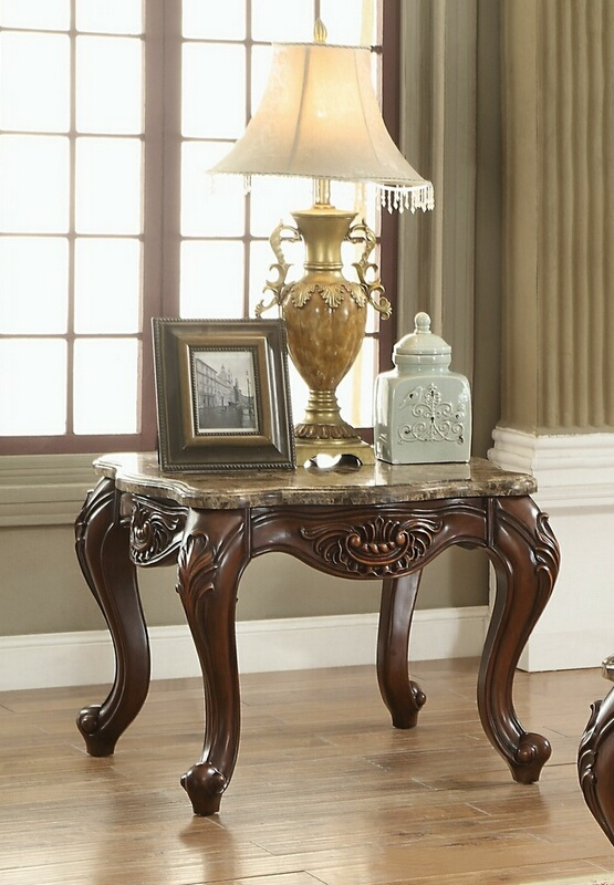 Acme 81657 Astoria grand simpson jardena cherry oak finish wood marble top chair side end table