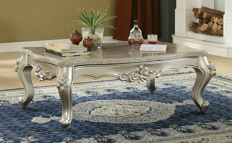 Acme 81665 Astoria grand jacqueline bently champagne finish wood marble top coffee table