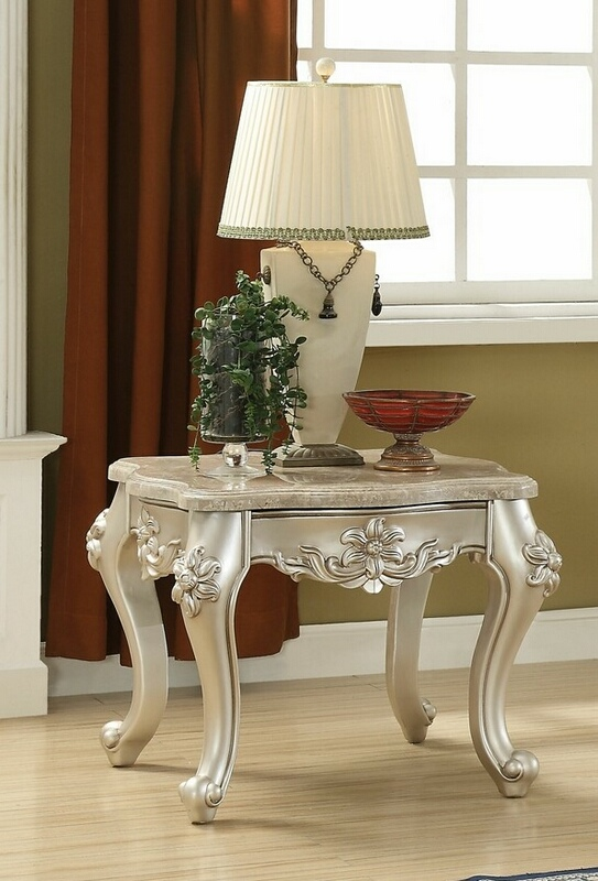 Acme 81667 Astorai grand jacqueline bently champagne finish wood marble top chair side end table