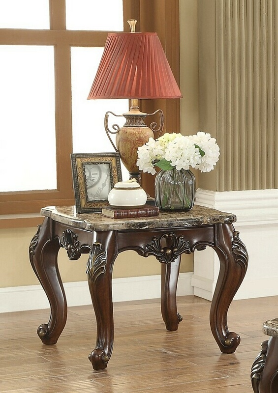 Acme 81687 Astoria grand mccloud devayne dark walnut finish wood marble top chair side end table