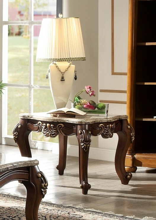 Acme 81697 Mehadi walnut finish wood marble top chair side end table
